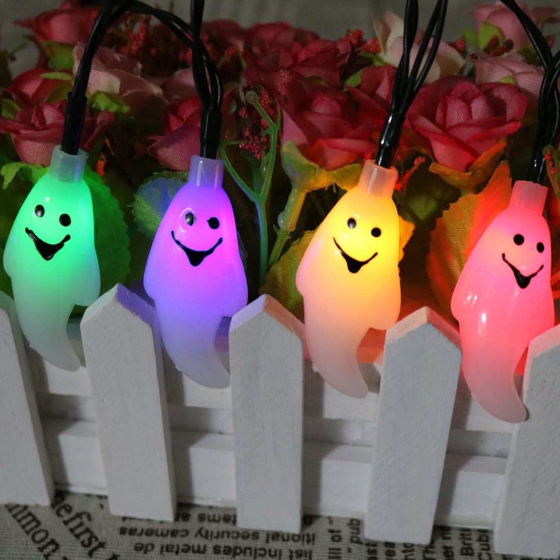 1.5M 10 LED Halloween Decor Ghost LED String Lights Lanterns Lamp for DIY Home Bar Outdoor Party Supplies