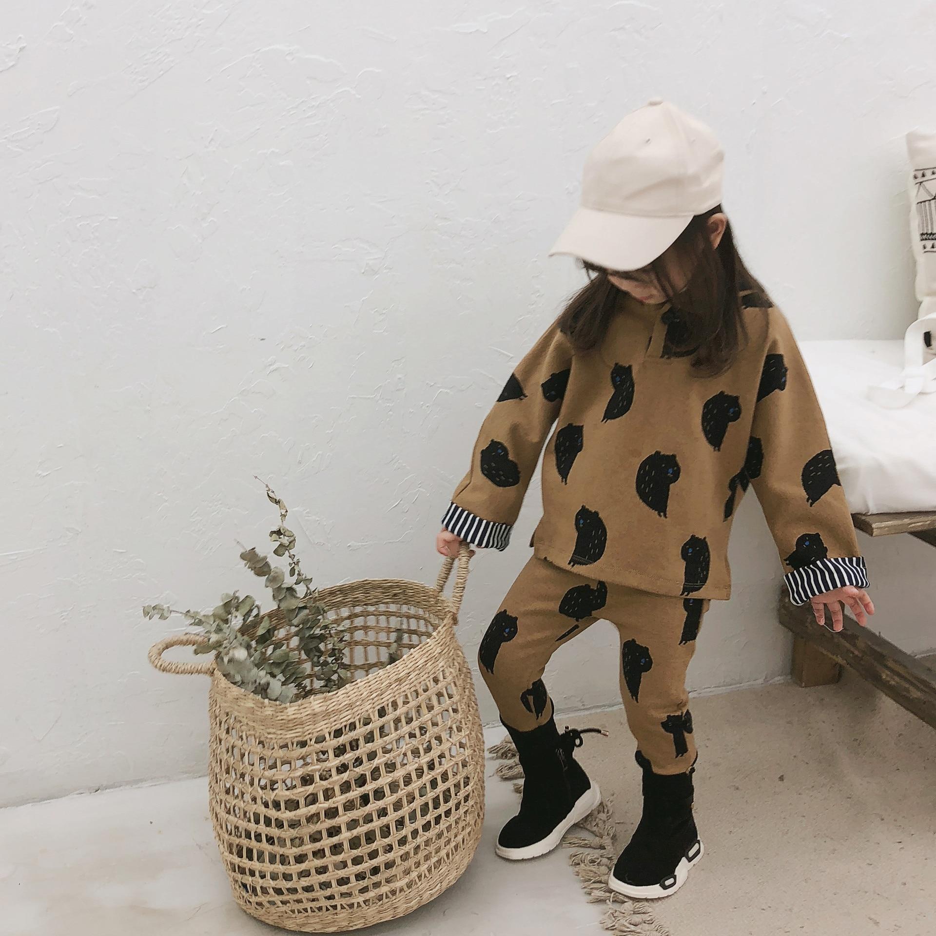 2018 Autunno E Inverno Nuovo Arrivo Set Di Abbigliamento In Cotone Di Modo Del Fumetto Con Cappuccio Vestito Per Fresco Dolce Cute Baby Ragazzi E Ragazze Saldi Di Fine Anno