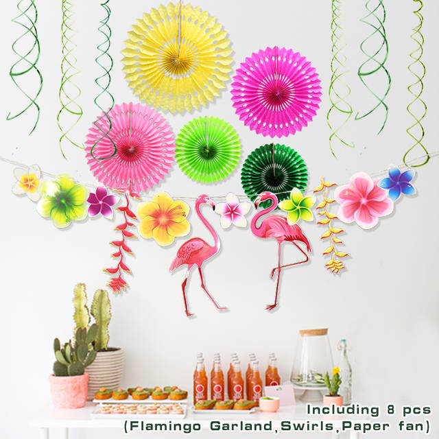Online Shop Flamingos Leaves Spring Theme Party Decor Swirls Paper