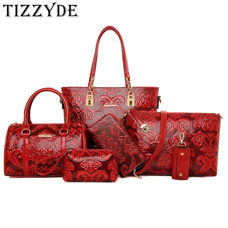 6 pieces / set of fashion women's composite bag PU leather printing ladies handbag shoulder bag wallet wallet key bag set SM1119-in Shoulder Bags from Luggage & Bags    1