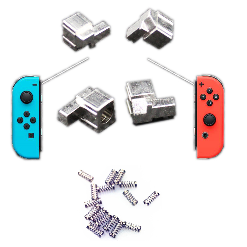 4pcs Metal Lock Buckles Repair Tool Kit+4pcs Springs for Nintend Switch NS Joy Con Replacement Parts with Screwdrivers