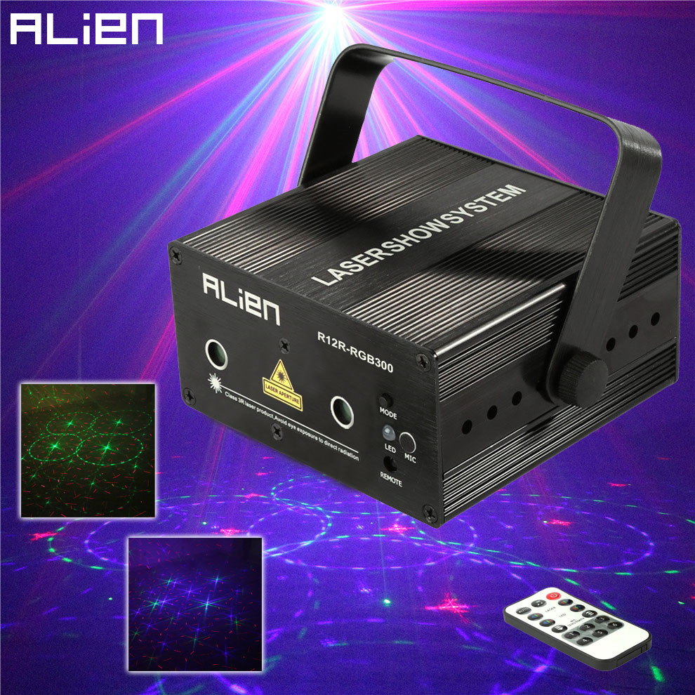 ALIEN 12 Patterns RGB Remote Laser Stage Lighting Effect DJ Disco Dance Holiday Lights Laser Projector Party Light Equipment alien 64 patterns rg remote laser stage projector lighting effect dj disco party christmas holiday with rgb led water wave light