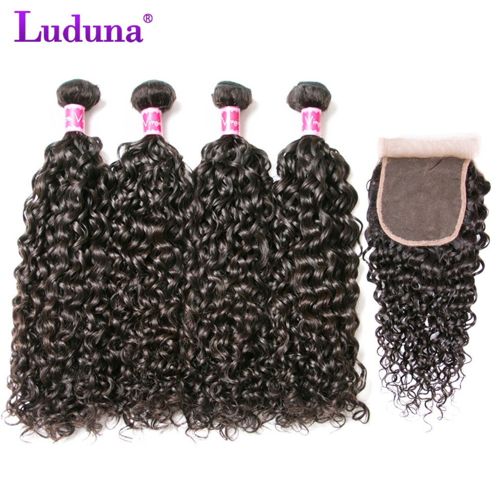 Luduna Indian Human Hair Water Wave Bundles With Closure 4Pcs Remy Human Hair Extensions 3 Bundles With Closure With Baby Hair