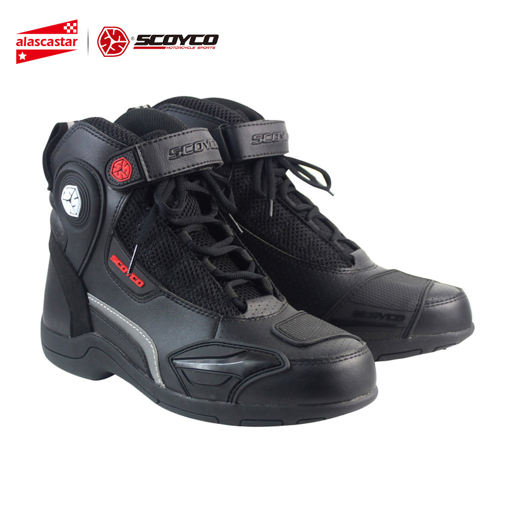 SCOYCO Motorcycle Boots Leather Motocross Off-Road Racing Boots Breathable Motorbike Riding Motorcycle Shoes Men Moto Boots motorcycle riding shoes men s waterproof spring anti falling knights boots cross country racing shoes road locomotive boots