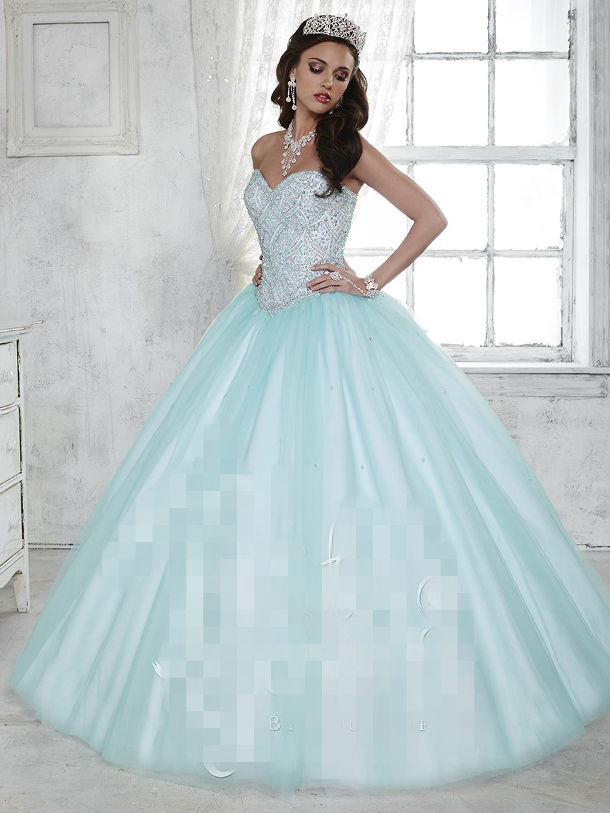 2017 Cheap 2017 Baby Blue Quinceanera Dresses Ball Gown