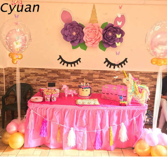 Cyuan Unicorn Party Disposable Tableware Kids Birthday Foil Balloons Cup Plate Hat 1st First Decor Supplies