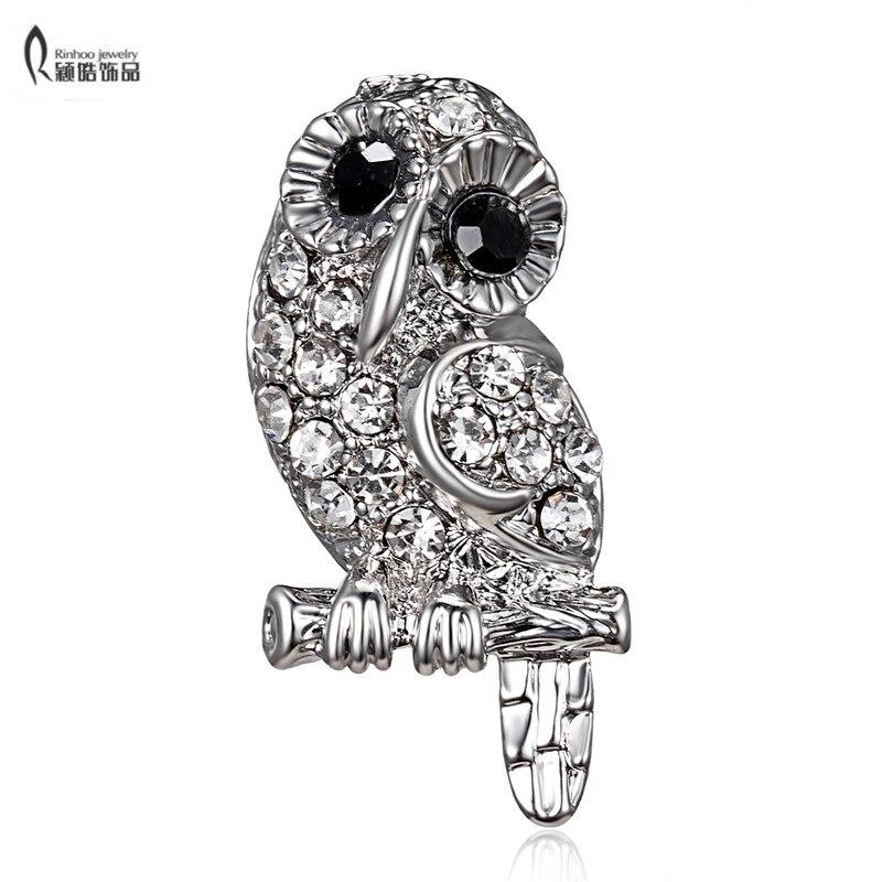 Fashion Silver Animal Owl Lizard Crystal Brooch Pin Women Costume Jewelry New