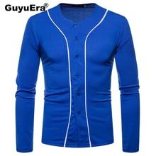 GuyuEra New long-sleeved T-shirt African ethnic style stitching mens V-neck bottoming shirt