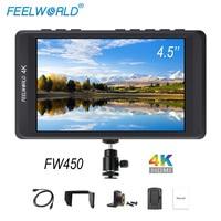 Feelworld FW450 дюймов 4,5 дюймов DSLR камера поле мониторы ips Малый HD 1280x800 4 К к HDMI вход выход легкий вес портативный ЖК дисплей s