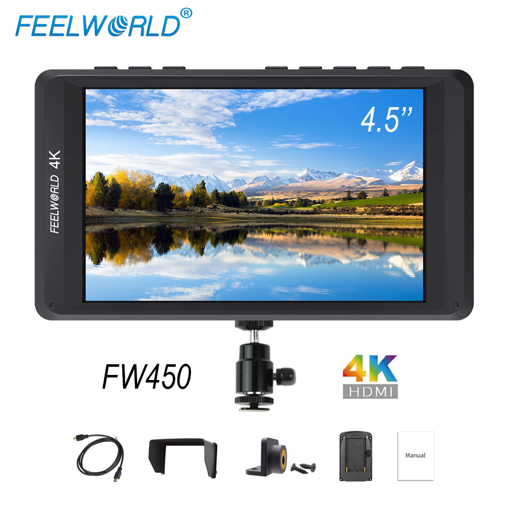 Feelworld FW450 4.5 inch DSLR Camera Field Monitor IPS Small HD 1280x800 4K HDMI Input Output Light Weight Portable LCD Monitors