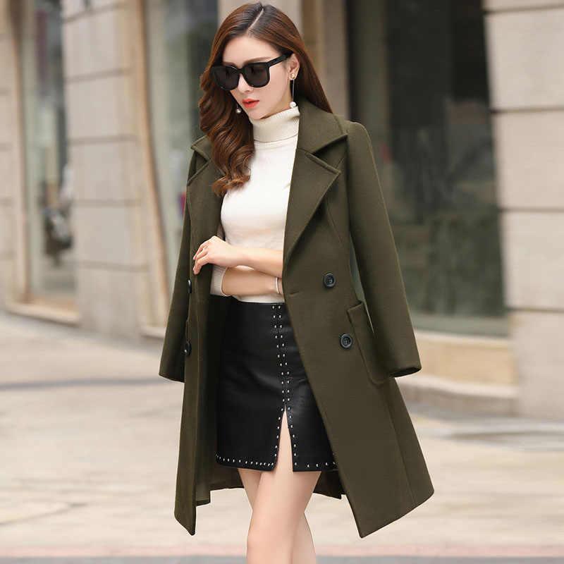 Fitaylor 2019 новые женские шерстяные пальто размера плюс длинные куртки зима весна женская тонкая Повседневная офисная шерстяная верхняя одежда