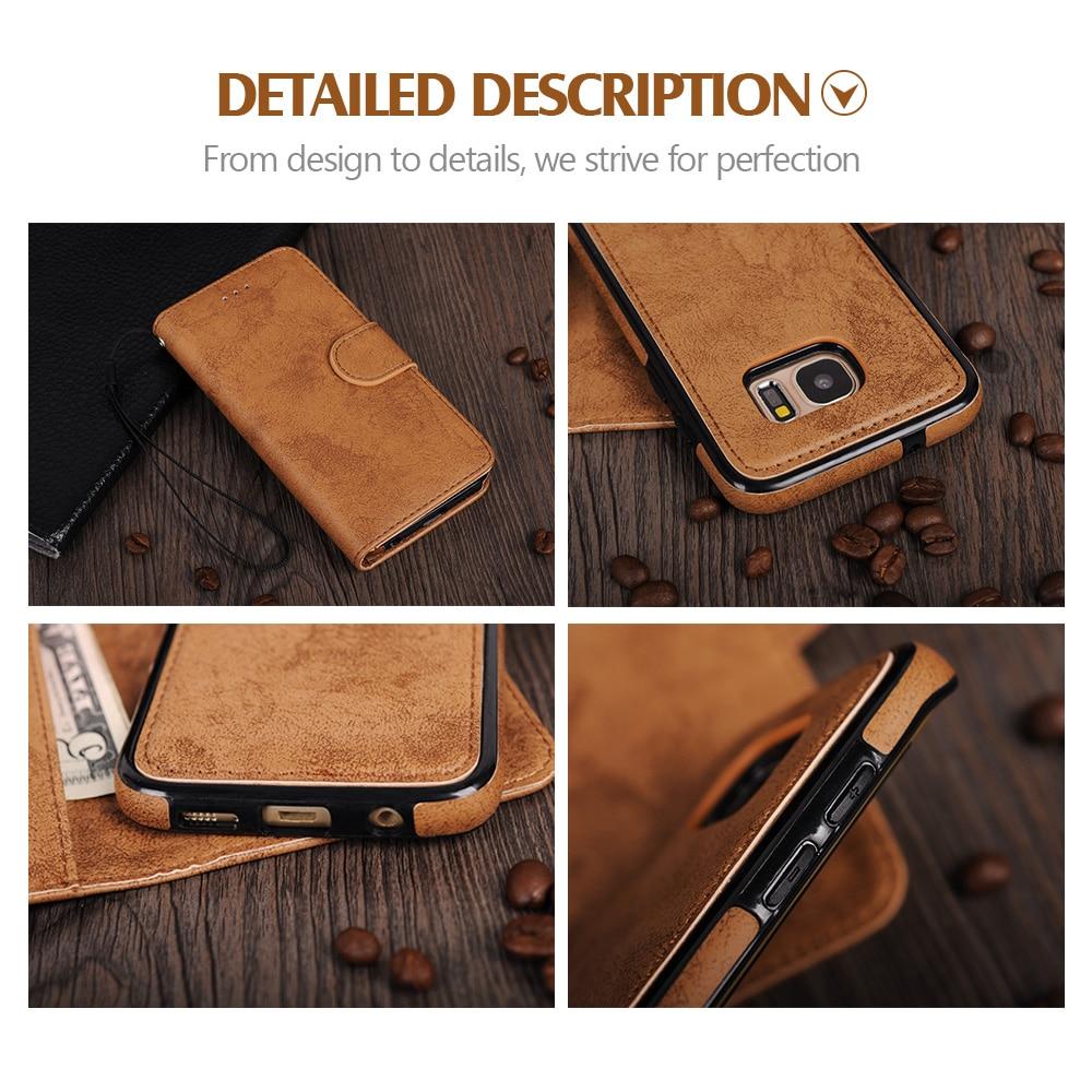 För Samsung Galaxy S8 Väska Flip Wallet 2 i 1 Avtagbar Retro Slim - Reservdelar och tillbehör för mobiltelefoner - Foto 5