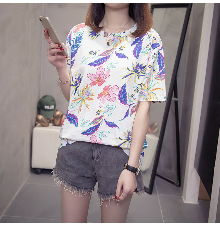 Nkandby Flower Print Summer T-shirt For Woman Fashion Casual Short sleeve Ladies Tshirt 2019 New Bamboo Plus size Basic Tops 4XL 10