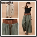 Europe and the United States the new cotton satin wide leg trousers belt belt skirt pants pants casual trousers-dod42