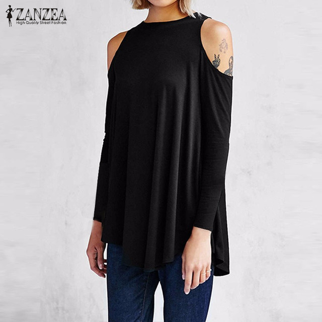 ZANZEA Women Tops 2018 Autumn Blusas Ladies Sexy Tunic Off Shoulder Long Sleeve Pullover Casual Loose Blouses Shirts Plus Size 2