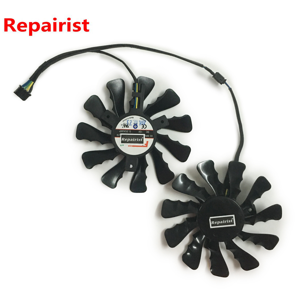 2pcs/set R7-370 r7370 GPU VGA Cooler Graphics cards Fan For HIS R7 370 IceQ X2 OC 2GB Video Card Cooling System As replacement ga8202u gaa8b2u 100mm 0 45a 4pin graphics card cooling fan vga cooler fans for sapphire r9 380 video card