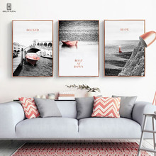 Modern Natural Landscape Decorative Wall Paintings Of A Rose Golden Boat Parking At The Calm Sea At Dawn Posters For Home Decor promise at dawn