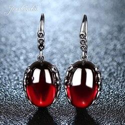 JIASHUNTAI ريترو فضة أقراط للنساء خمر الأحمر الأصفر الأحجار الكريمة مع 925 فضة مجوهرات الهندي pendientes