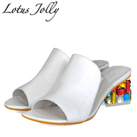 2018 Summer Pu Leather Women Slides Sandals Shallow Rhinestone Ladies Shoes Woman Thick Heel Crystal Slippers