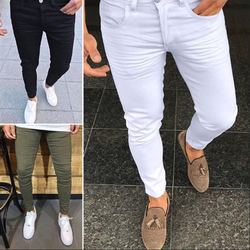 2019 Spring Leisure Solid Color Slim Fit Skinny Long Pants Middle Waist Men Trousers