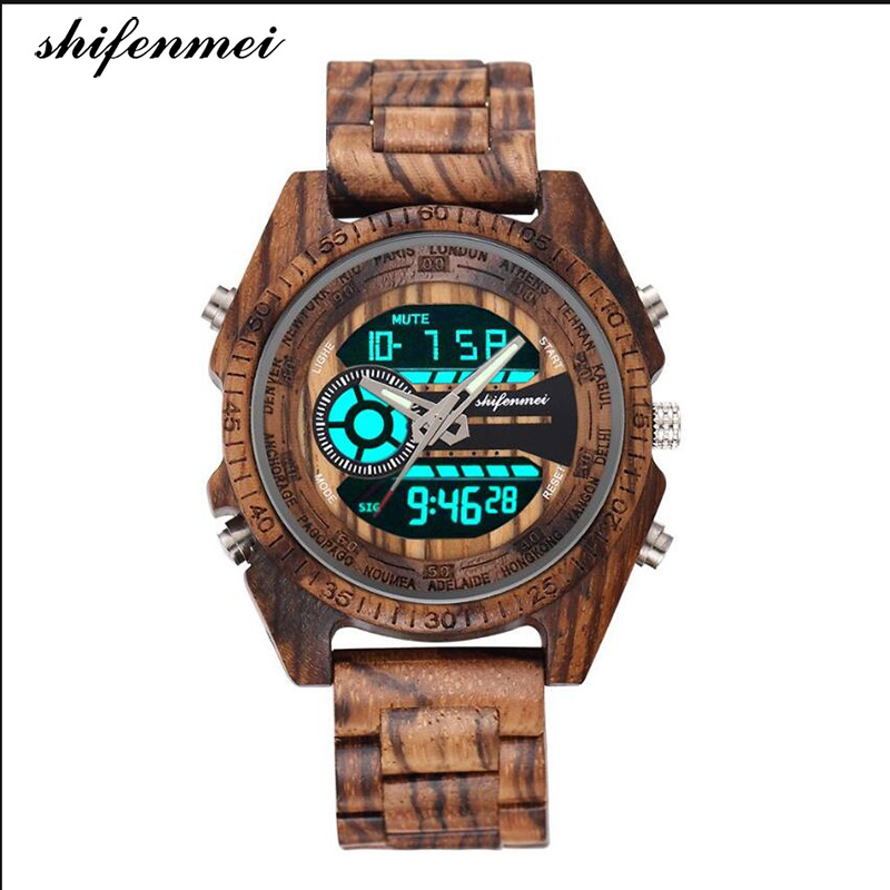 Shifenmei S2139W Antique Natural Digital Men Watches LED Display Engraved Wooden Luminous Hand Boys Brand Male Female Watch