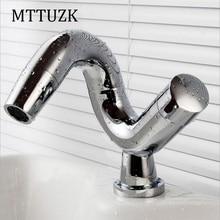 MTTUZK Бесплатная доставка современная творческая умывальник дизайн ванной кран горячей и холодной смеситель водопроводные краны для ванн бассейна кран для ванной комнаты