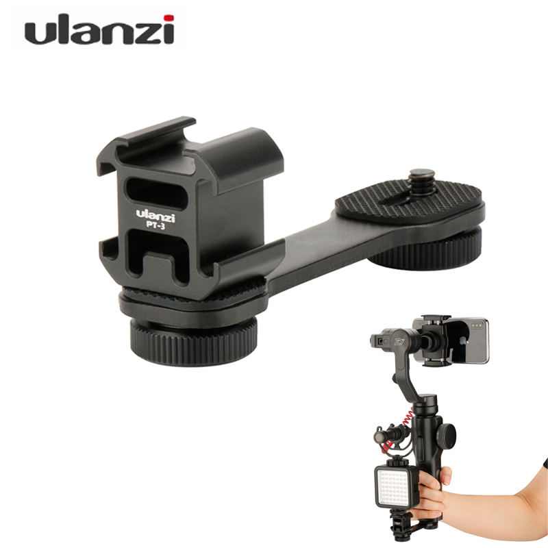 Ulanzi Mic Stand Cold Shoe Bracket Holder Adapter For BY-MM1 Microphone Led video Light Zhiyun Smooth 4 Feiyu Vimble 2 ( PT-3 ) smooth q 4 mic stand l bracket camera handle grip for zhiyun smooth 4 dji osmo led light rode videomicro with 2 hot shoe mounts