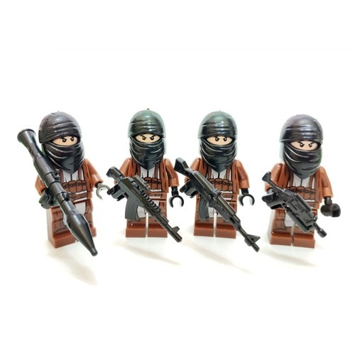 4PCS Bandits Armed Gunmen Military Gun Weapons City Police Parts Playmobil Mini Figures Building Block Brick Original Toys