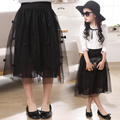 2017 New Girls Summer Solid Skirts Girls High Waist tutu Skirt Baby Girls Party Skirts Kids Brand Mesh Bowknot Toddler Skirt