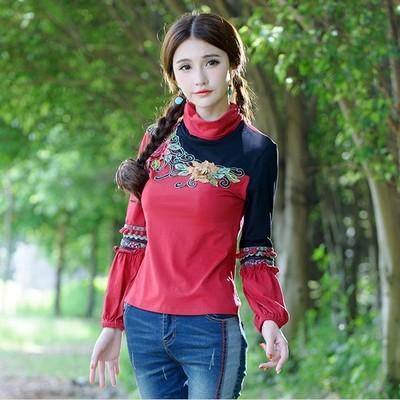 Vintage gola vermelha de manga comprida bordados pullovers para mulheres étnica retro patchwork t-shirt tee top camponês blusa