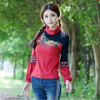 Vintage red turtleneck long sleeve embroidery pullovers for women  ethnic retro patchwork t-shirt tee top peasant blusa