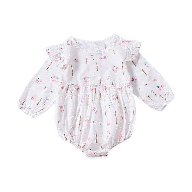 600f41a8cd5e Newborn Baby Girl Bodysuit Autumn Winter Puff Long Sleeve Onesie Flower  Print Jumpsuit Infant Girl Clothes