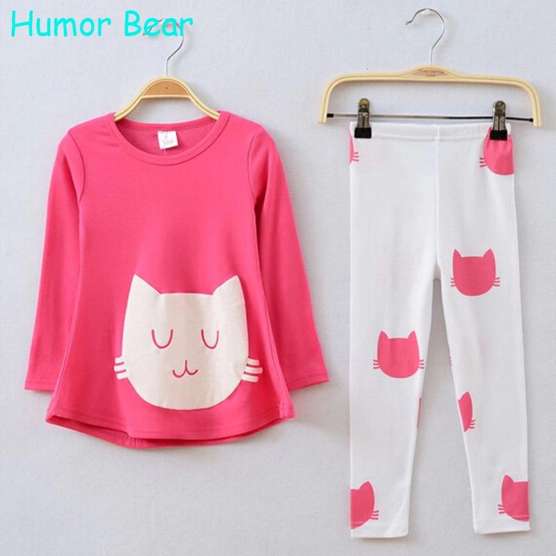 Humor Bear Baby Girl Clothes Cartoon Cat Long Sleeve T-Shirt+Legging Clothing Set Kids Clothes Sets Girls Set Girls Suits