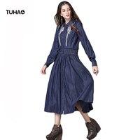 TUHAO Long Shirt Style Emboridery Dresses Women Turn Down Collar Single Breasted High Waist Vintage Dress