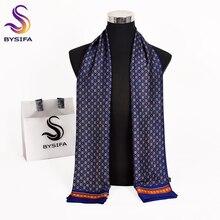 [BYSIFA] бренд мужские шарфы осень зима мода мужской теплый темно-синий длинный шелковый шарф галстук высокое качество шарф 170*30 см