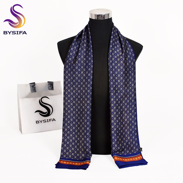 [Bysifa] 2018 جديد تماما رجل الأوشحة الخريف الشتاء الأزياء الذكور الدافئة الأزرق الداكن طويل الحرير وشاح عنق عالية الجودة وشاح 170 * 30 سنتيمتر