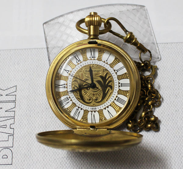 Fashion 1882 Personalised Half Hunter 100% Brass Crop Plated Skeleton Pocket Mechanical Watch