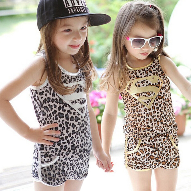 4c15fb6a924 2017 Special Offer Vest Regular Hot Children s Baby Girls Summer Clothes  Leopard Vest+pants Sets Outfits 2pcs Clothing Kids