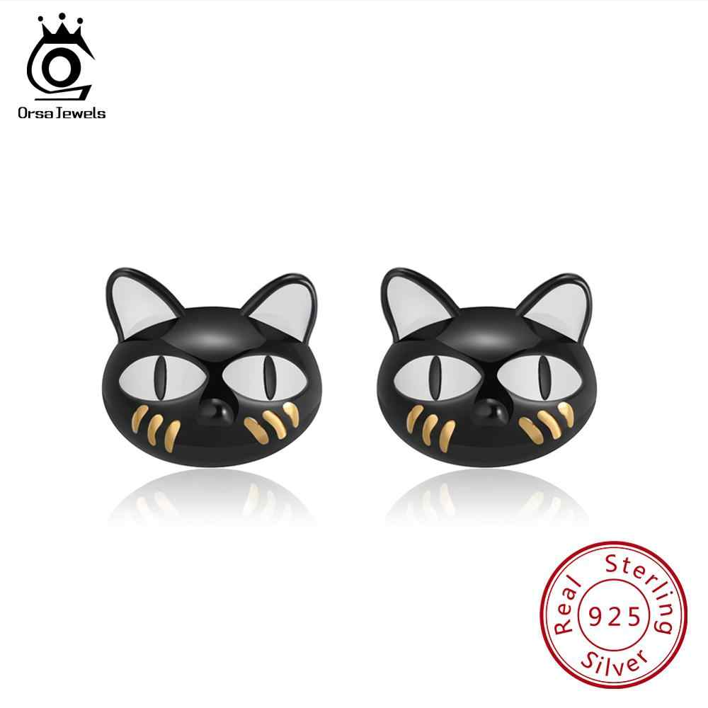 ORSA JEWELS Genuine Sterling Silver Women Stud Earrings Cute Black Cat Enamel High Polished Factory Price Silver Jewelry SE89