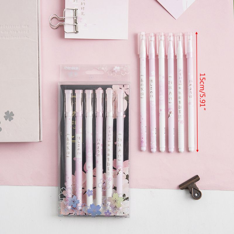 Cherry Blossom Gel Pen Creative Cute Student Writing Black Signature Pen Classmate Set Neutral Writing Pen Creative Stationery in Gel Pens from Office School Supplies