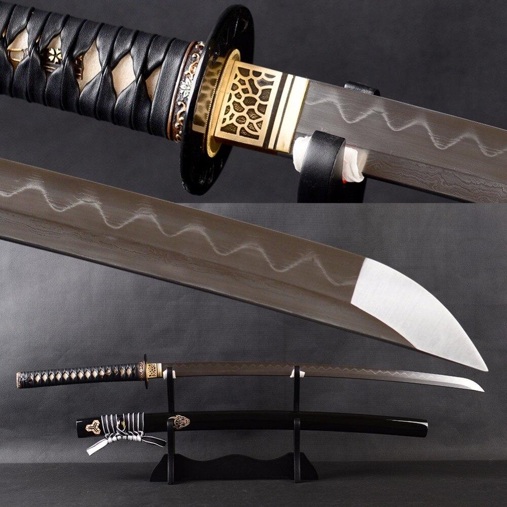 Pas de sang groove japonais katana sword damas acier argile trempé lame très sharp couper la pratique sword espadas pleine saveur