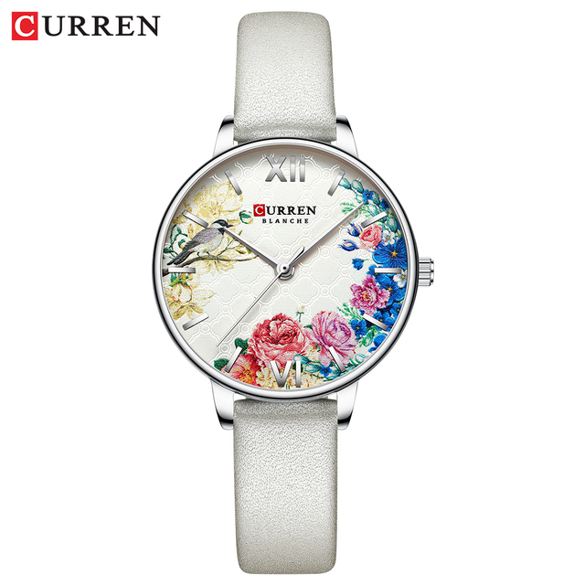 CURREN White Leather Watch for Women Watches Fashion Flower Quartz Wristwatch Female Clock Reloj Mujer Charms Ladies Gift