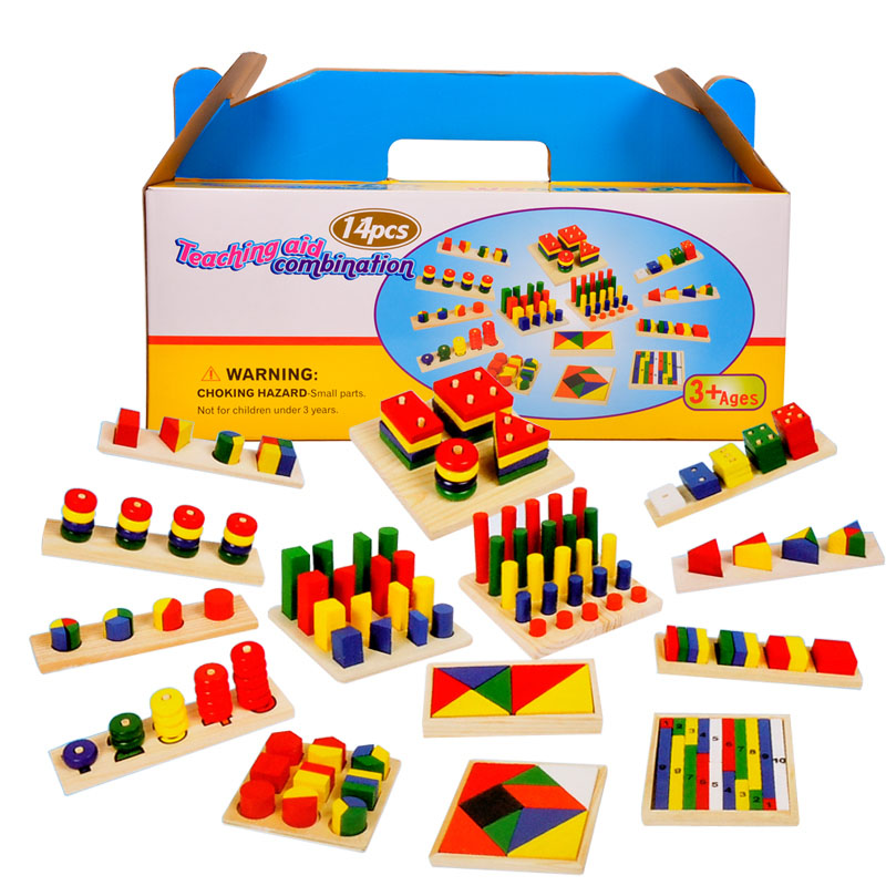 14 Pcs Montessori Wooden Pre School Teaching Aid Combination Educational Toys For Children Kids Preschool Model Building Kits baby educational wooden toys for children building blocks wood 3 4 5 6 years kids montessori twenty six english letters animal