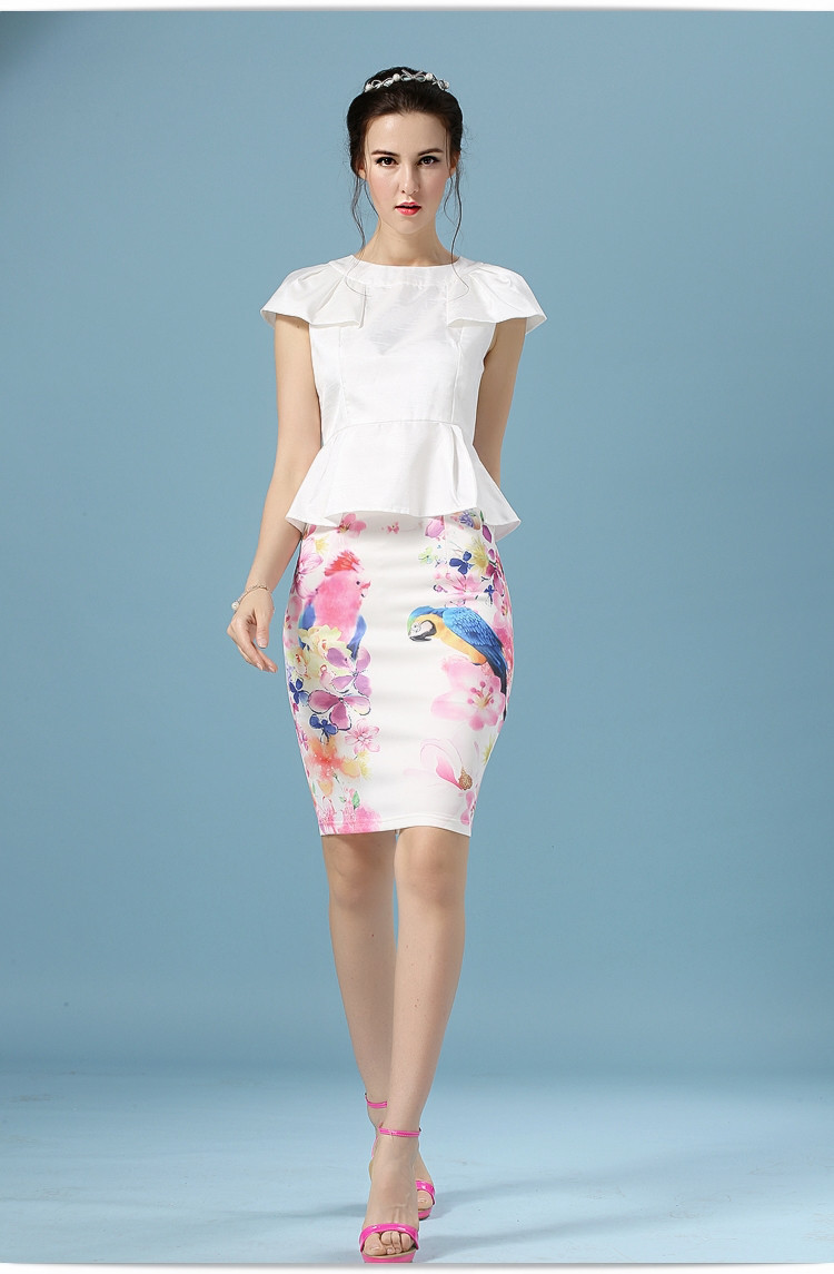 Elegant Office Pencil White Floral Bird Print High Waisted Skirt 1