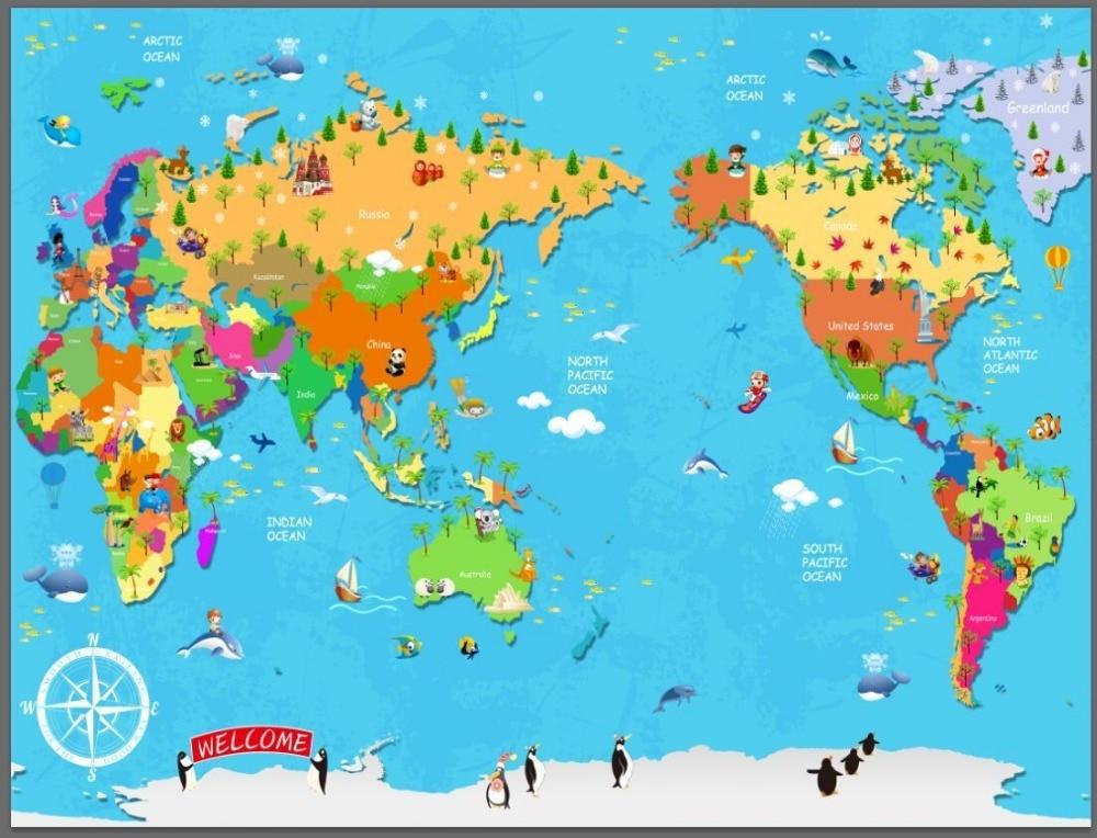 Cartoon Children Study World Map Large Mural Wallpaper TV