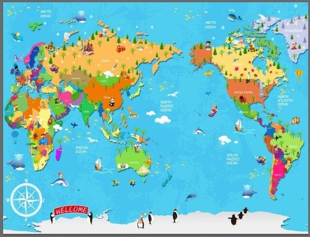 Study World Map.Cartoon Children Study World Map Large Mural Wallpaper Tv Sofa