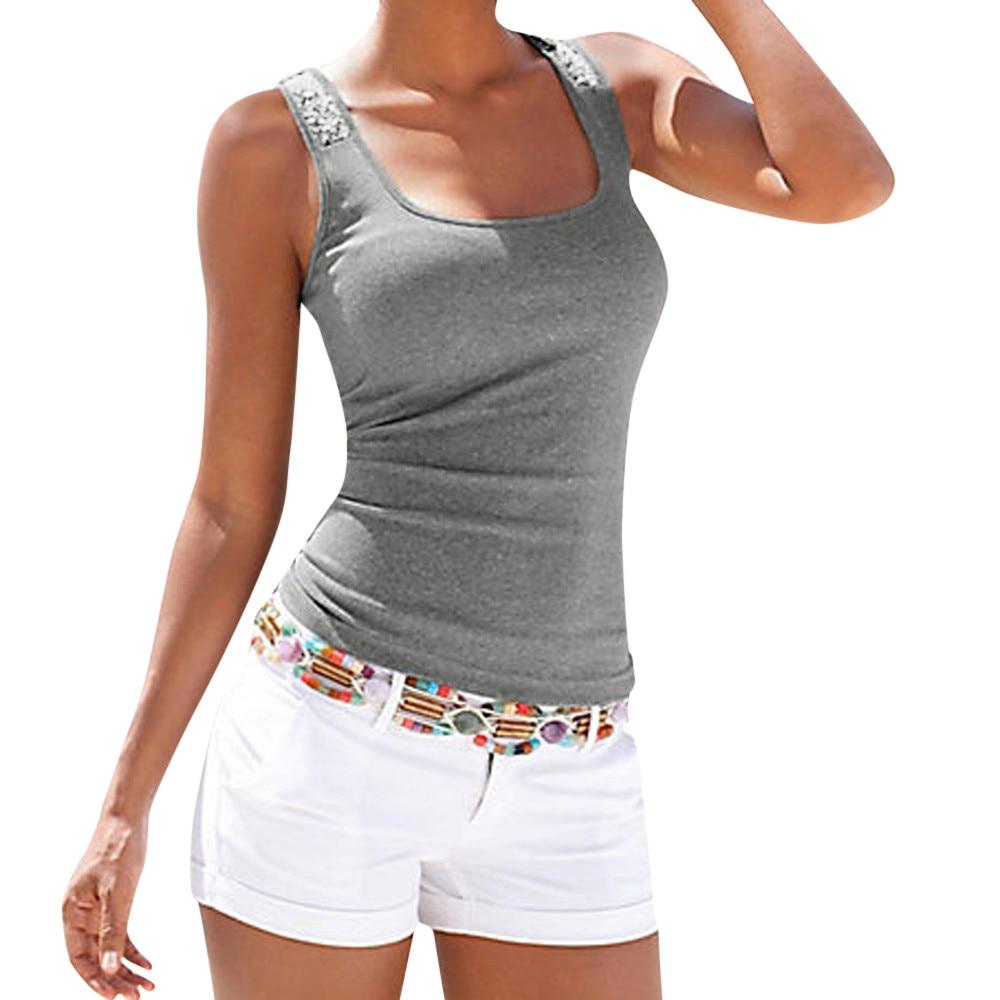 #40 Tank Top Women Casual Fashion Plus Size Sleeveless Sequin Vest Tops Summer Ladies Casual Blouse Shirt Camisa Femenina