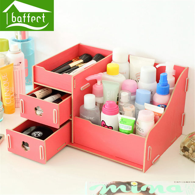 Colorful Multifunction Creative Desktop Office Supplies Storage Box Wooden Cute Cosmetics Organizer Hsb195