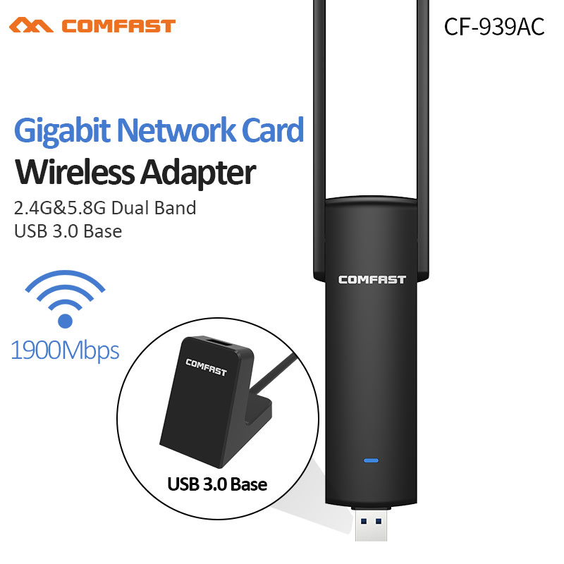 COMFAST Gigabit USB Wifi Adapter 1900Mbps 2.4Ghz & 5.8Ghz Dual Band wifi Dongle Plug And Play AC Network Card USB Wifi Antenna