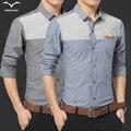 Autumn new men's Korean Slim stitching tide fashion casual long-sleeved shirt